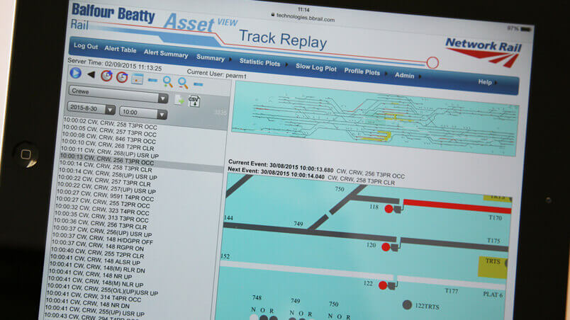 iPad showing Balfour Beatty's AssetView software package in use